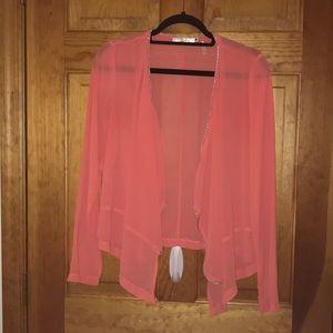 Sheer orange embellished open cardigan